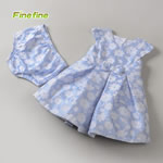 White flower Design Kids Part Dress In Blue