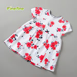 Flower Print Knitted Cotton Girl Dress